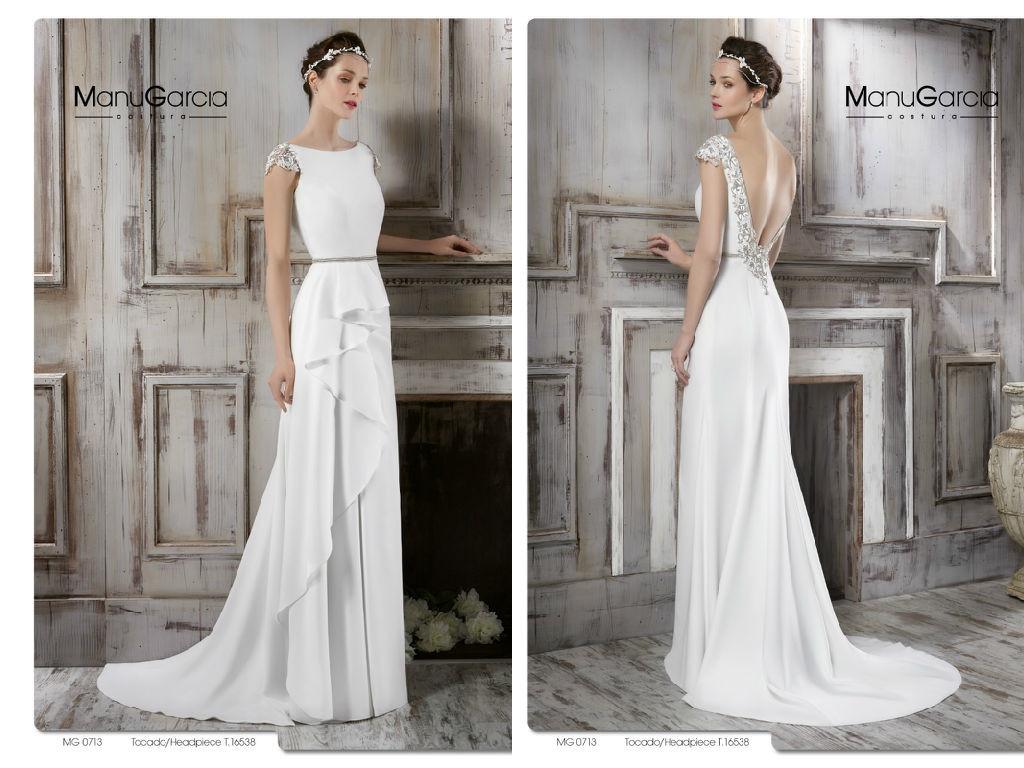 Vestido novia sencillo sin cola