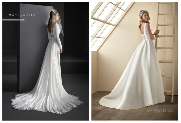 Vestidos de novia con escotes-semi